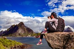 Arquipélago de Norway Lofoten do fotógrafo da natureza fotografia de stock royalty free