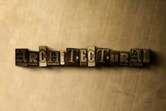 ARQUITECTÓNICO - el primer del vintage sucio compuso tipo de palabra en el contexto del metal stock de ilustración