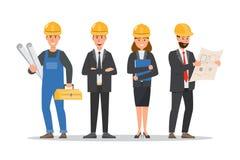 Arquitecto, capataz, dirigiendo al trabajador de construcci?n en diverso characte ilustración del vector