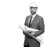 Arquitecto de sexo masculino maduro con un modelo imágenes de archivo libres de regalías