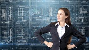 Arquitecto Engineer Construction Design de la empresaria y concepto del negocio Imagenes de archivo