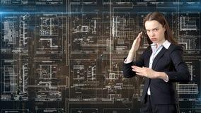 Arquitecto Engineer Construction Design de la empresaria y concepto del negocio Foto de archivo