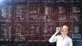 Arquitecto Engineer Construction Design de la empresaria y concepto del negocio Foto de archivo libre de regalías