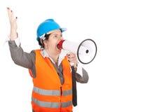 Arquitecto o ingeniero de sexo femenino gordo con el megáfono Fotografía de archivo