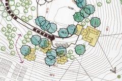 Arquitecto paisajista Designing en plan Imagenes de archivo