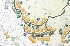 Arquitecto paisajista Designing en plan del análisis del sitio Fotos de archivo