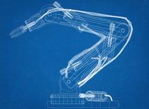 Arquitecto robótico Blueprint del diseño del brazo ilustración del vector