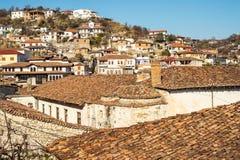 Arquitectura única de Berat Fotos de archivo