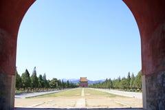 Arquitectura antigua china en las tumbas reales del este del Q Fotografía de archivo