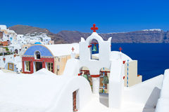 Arquitectura del pueblo de Oia en la isla de Santorini Imagen de archivo