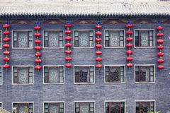 Arquitectura china y linternas rojas Imagenes de archivo