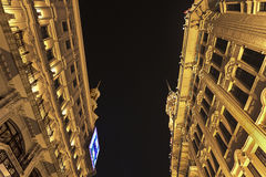 Arquitectura colonial en la noche, Shangai, China Foto de archivo