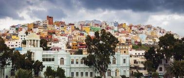 Arquitectura colorida del barrio hispano San Juan en Las Palmas fotografía de archivo libre de regalías
