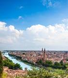 Arquitectura da cidade bonita Vista aérea região de Verona, Itália, Vêneto Fotografia de Stock Royalty Free