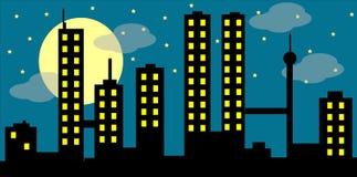 Arquitectura da cidade com lua e nuvens Fotografia de Stock Royalty Free