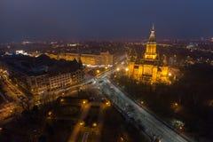 Arquitectura da cidade da noite, Salão Fotografia de Stock Royalty Free