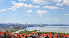 Arquitectura da cidade de Belgrado em Danúbio Imagens de Stock Royalty Free