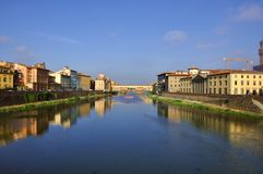 Arquitectura da cidade de Florença em o dia, Ponte Vecchio Fotografia de Stock Royalty Free
