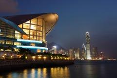Arquitectura da cidade de Hong Kong na noite Imagens de Stock Royalty Free