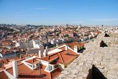 Arquitectura da cidade de Lisboa em Portugal (castelo de Jorge do Sao) imagens de stock
