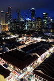 Arquitectura da cidade de Singapore no crepúsculo Fotos de Stock