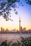 Arquitectura da cidade de Toronto durante o por do sol Fotos de Stock Royalty Free