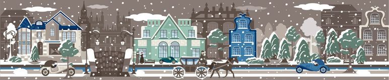 Arquitectura da cidade do inverno Fotos de Stock Royalty Free