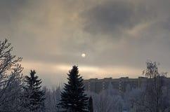 Arquitectura da cidade do inverno Foto de Stock Royalty Free