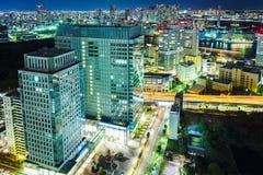 Arquitetura da cidade do Tóquio na noite Fotografia de Stock