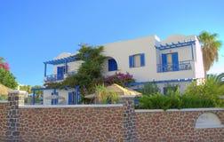 Arquitectura de Cícladas, Kamari, Santorini Foto de archivo