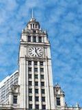 Arquitectura de Chicago, torre de reloj del edificio de Wrigley fotografía de archivo