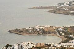 Arquitectura de la isla de Paros en Grecia Visión desde la montaña Fotos de archivo