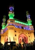 Arquitectura de la marca de tierra de la herencia Charminar, Ap, la India. Iluminado durante la conferencia de la O.N.U del Partie Imágenes de archivo libres de regalías