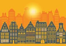 Arquitectura de la vida urbana, sistema de las casas stock de ilustración