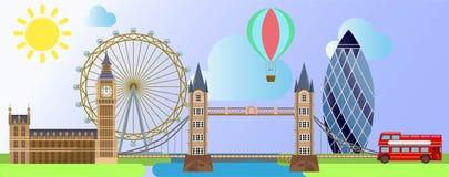 Arquitectura de Londres por ejemplo la rueda del ojo de Londres, el palacio de Westminster, el globo tur?stico en la sol y el fon ilustración del vector