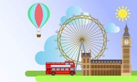 Arquitectura de Londres por ejemplo la rueda del ojo de Londres, palacio de Westminster, globo tur?stico ilustración del vector