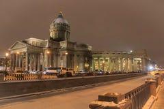Arquitectura de St Petersburg Catedral de Kazán en invierno Foto de archivo libre de regalías