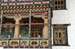 Arquitectura del arte de Tashichho Dzong, Timbu, Bhután Foto de archivo