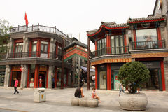 Arquitectura del chino tradicional, calle de Qianmen, Pekín Foto de archivo libre de regalías