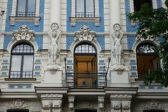 Arquitectura del estilo de Art Nouveau en un edificio viejo Foto de archivo libre de regalías