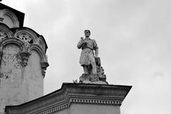 Arquitectura del parque de VDNKH en Moscú Figura del hombre Fotografía de archivo