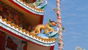Arquitectura del templo chino Bangsaen en Tailandia Aspecto externo almacen de video