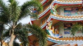 Arquitectura del templo chino Bangsaen en Tailandia Aspecto externo metrajes