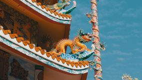 Arquitectura del templo chino Bangsaen en Tailandia Aspecto externo almacen de metraje de vídeo
