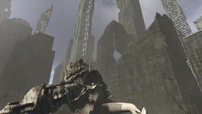 Arquitectura derrumbada en una ciudad apocalíptica ilustración del vector
