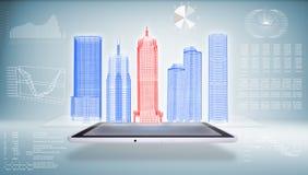 Arquitectura en el Tablet PC stock de ilustración