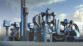 Arquitectura futurista de un horizonte de la ciudad ilustración del vector
