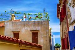 Arquitectura griega en la ciudad vieja de Chania Foto de archivo libre de regalías
