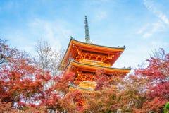 Arquitectura hermosa en el templo Kyoto, Japón de Kiyomizu-dera Fotos de archivo libres de regalías