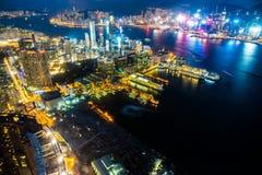 Arquitectura hermosa que construye el paisaje urbano exterior de Hong-Kong imágenes de archivo libres de regalías